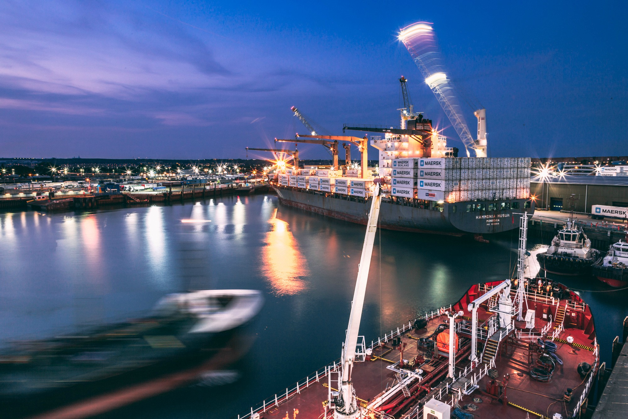 Portsmouth Port at night Hampshire